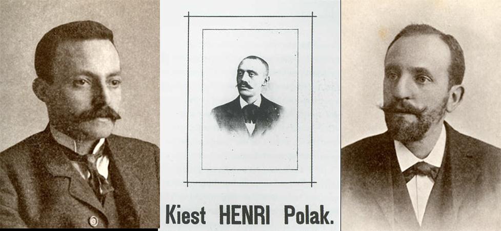 (vlnr) Dolf de Levita, Henri Polak en Jos Loopuit, diamantbewerkers die Joden proberen te winnen voor het socialisme