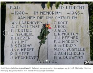 Gedenkplaat van omgekomen leden KAB afdeling Utrecht