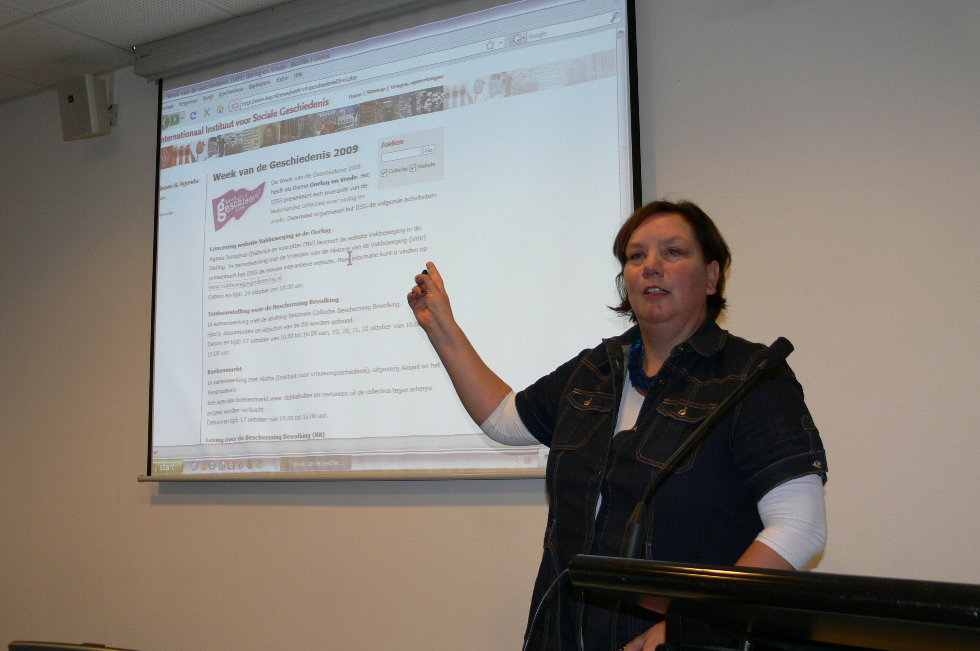 Agnes Jongerius lanceert de website Vakbeweging in de Oorlog, 24 oktober 2009