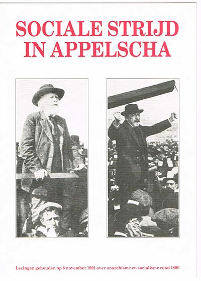 Boekomslag Sociale strijd in Appelscha, links Ferdinand Domela Nieuwenhuis, rechts Pieter Jelles Troelstra, waarin de lezing van Johan Frieswijk is opgenomen.