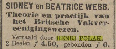 Advertentie waarin het boek over de geschiedenis van de Engelse vakbeweging van Sidney en Beatrice Webb in de vertaling van Henri Polak wordt aangeboden