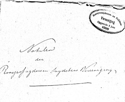 Notulenschrift met stempel van de Roosjessnijdsters- en snijdersvereniging